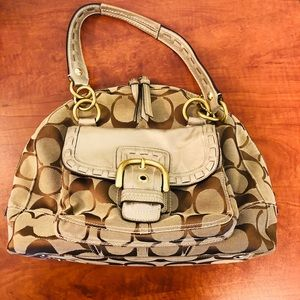 COACH 11889 Signature Satchel Metallic Handbag